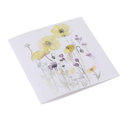 Carte double, papier coton, parterre de fleurs jaunes