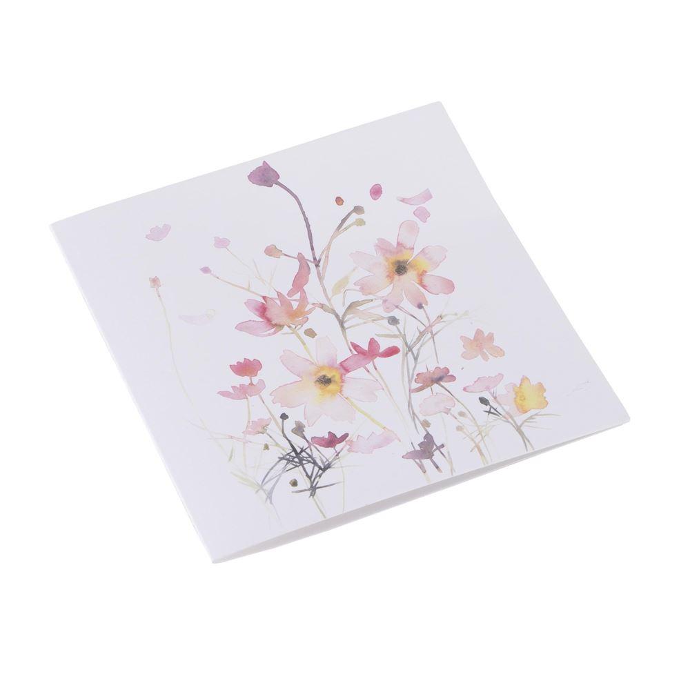 Carte double, papier coton, parterre de fleurs rose