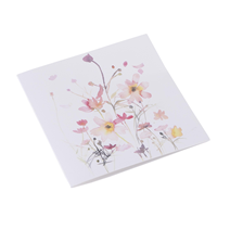 Kort i bomullspapper, Flowerbed rosa