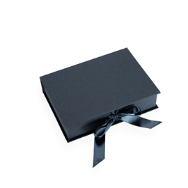 Box cloth/paper A5 Iris smoke blue with ribbon