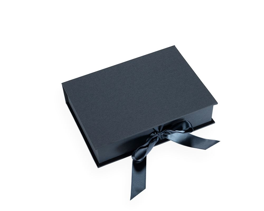 Box with silk ribbons, Smoke Blue