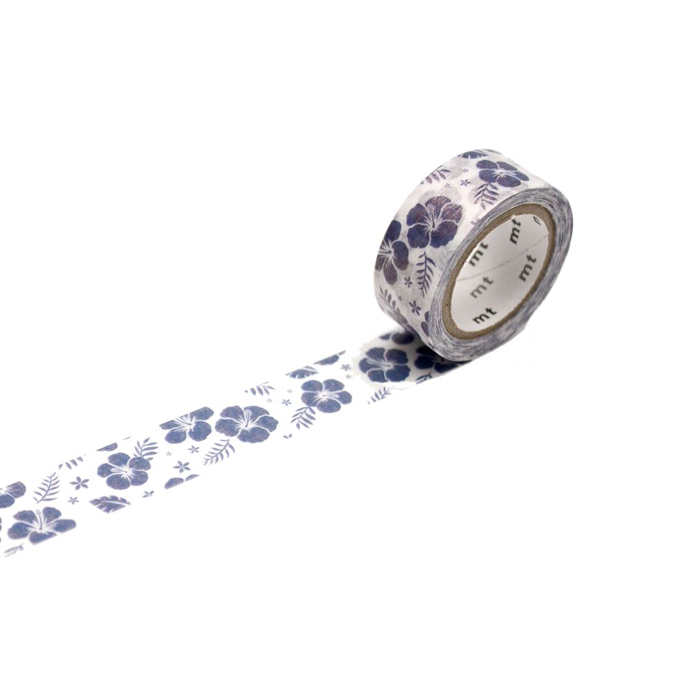 WASHI - FAB HIBISCUS NAVY BLUE