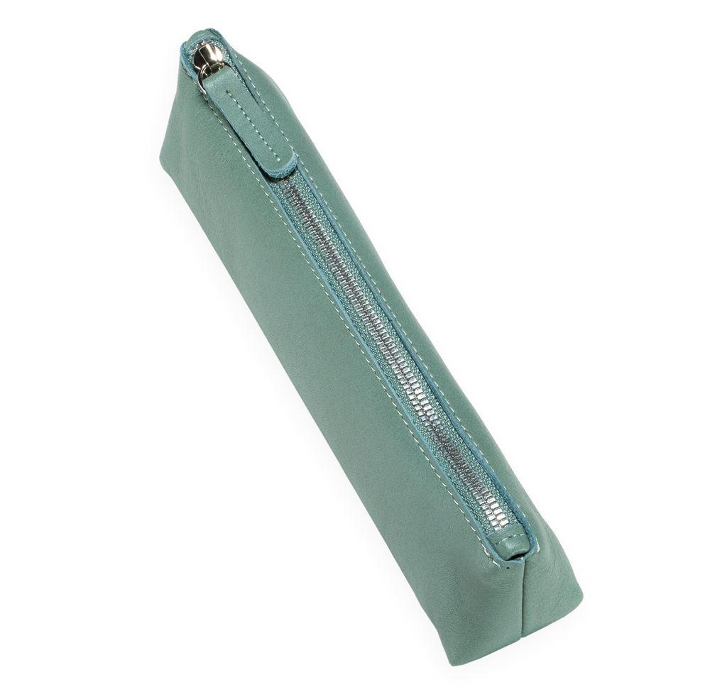 Trousse à crayons en cuir, Dusty Green
