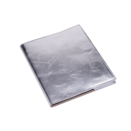 Notizbuch mit Ledereinband, silver