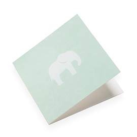 Carte double, papier coton, vert, éléphant blanc