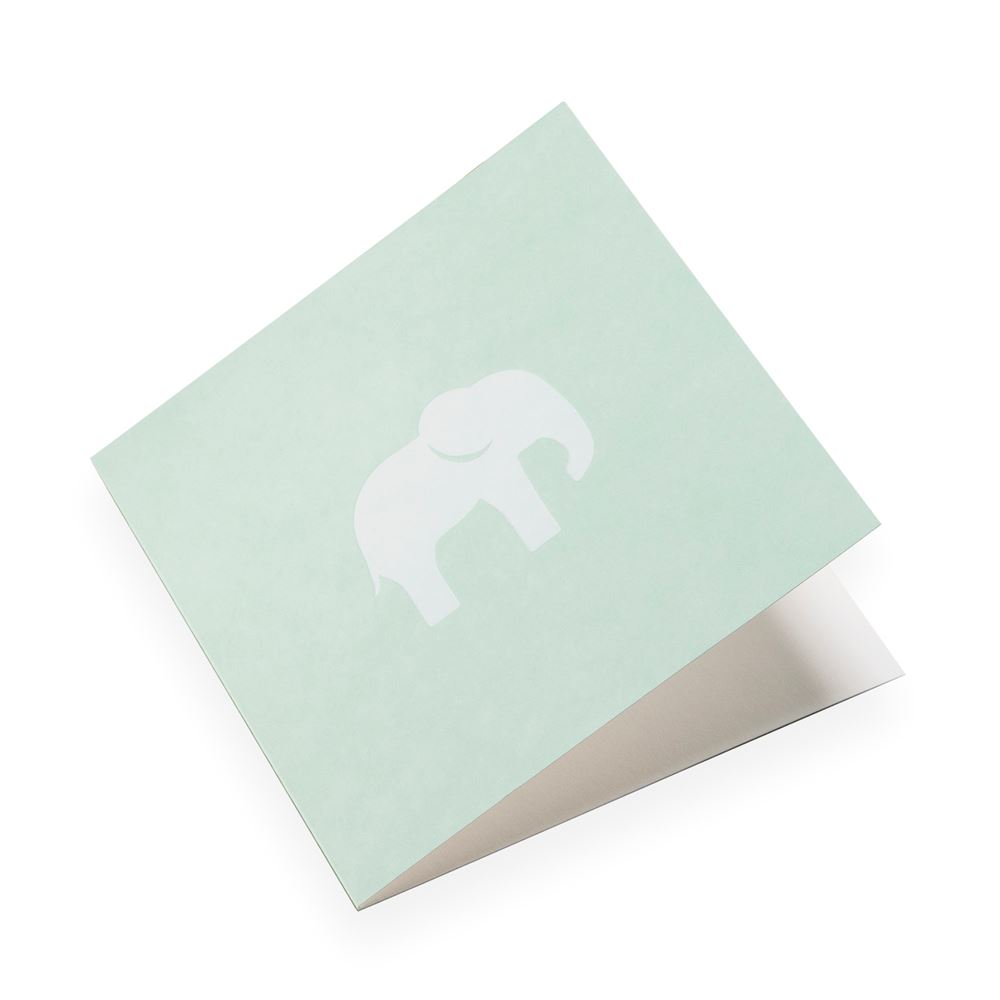Cotton paper card, Dusty Green with white Elephant
