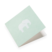Faltkarte aus Baumwollpapier, Dusty Green mit Elefant in Weiss