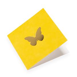 """Carte double, papier coton, """"Jaune soleil et papillons"""" doré"""