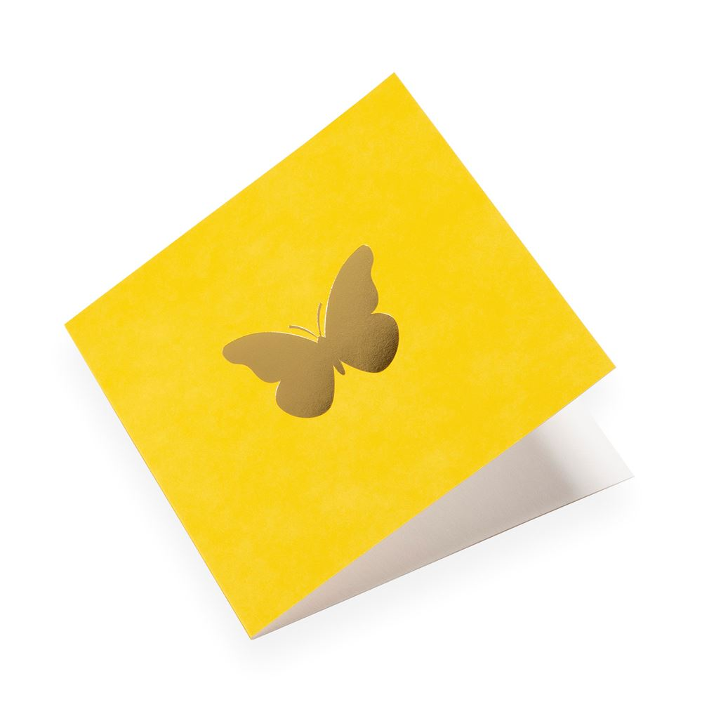 Faltkarte aus Baumwollpapier, Sun Yellow mit Schmetterling in Gold