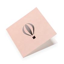 Faltkarte aus Baumwollpapier, Dusty Pink mit Heissluftballon in Silver