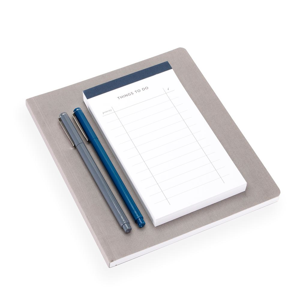 Geschenkset To do-list & Notizbuch Soft cover, Dark Grey and Smoke Blue