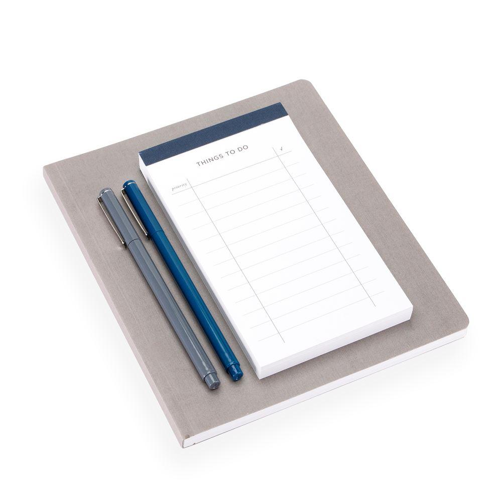 Set med mjuk anteckningsbok och att göra-lista, Mörkgrå och mörkblå