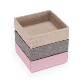 Set de 3 boîtes carrées, dusty pink, Light grey, Sand