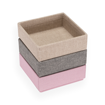 Set de 3 boîtes carrées, dusty pink, Light grey, Sand