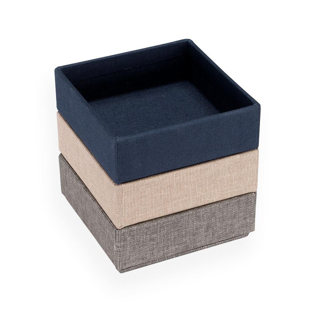 Set de 3 boîtes carrées, Smoke blue, Light grey, Sand