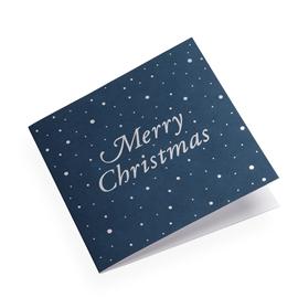 Kort i bomullspaper, Mörkblått med Merry Christmas i silver