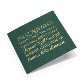 Cotton paper card, Dark Green with Merry Christmas in different languages in Gold