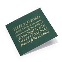 Kort i bomullspaper, Mörkgrönt med God Jul i flera språk i Guld