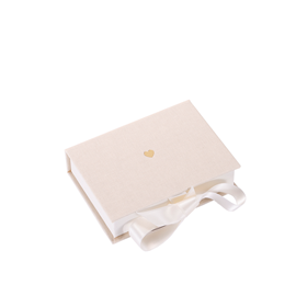 Box cloth/paper mini Ivory Little heart Gold