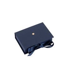 Box cloth/paper mini Iris Smoke blue Little heart Gold
