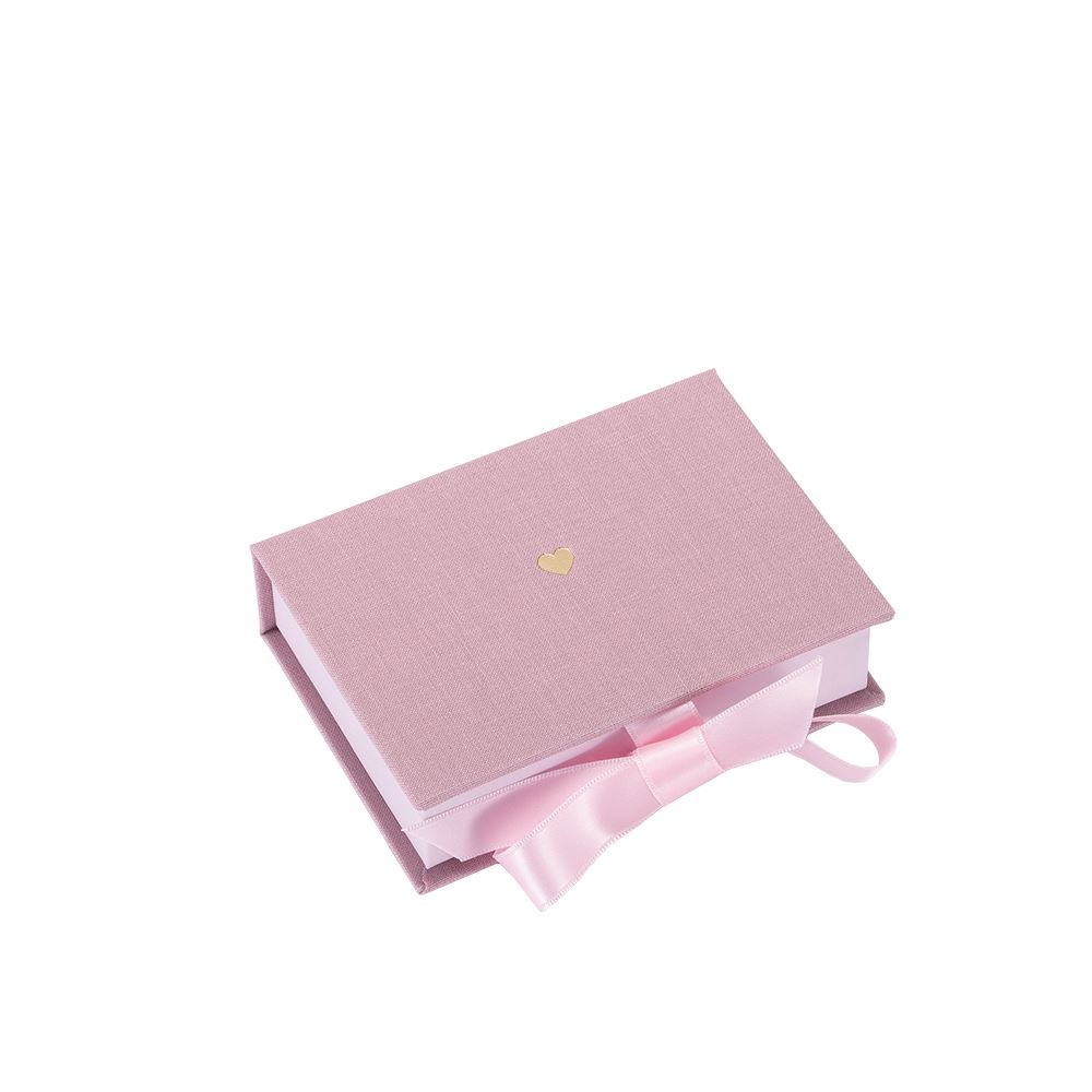 Box cloth/paper mini Dusty pink Little heart Gold