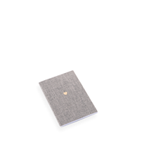 Notebook Stitched, Pebble Grey, Little Heart Gold