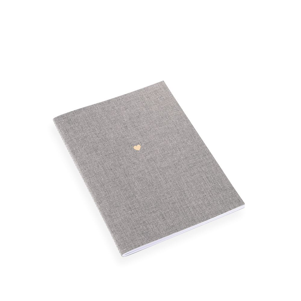 NOTEBOOK STITCHED, LIGHT GREY, HEART