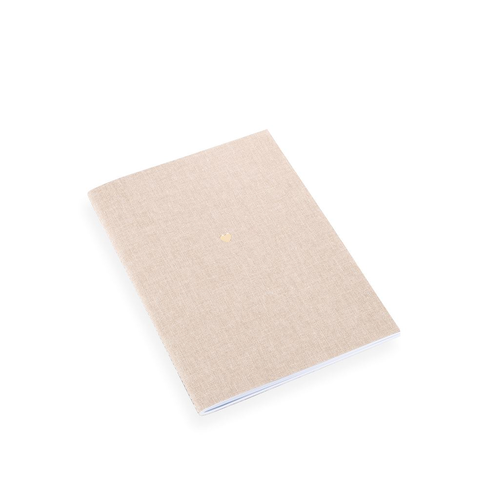 Notebook Stitched, Sand Brown, Little Heart Gold