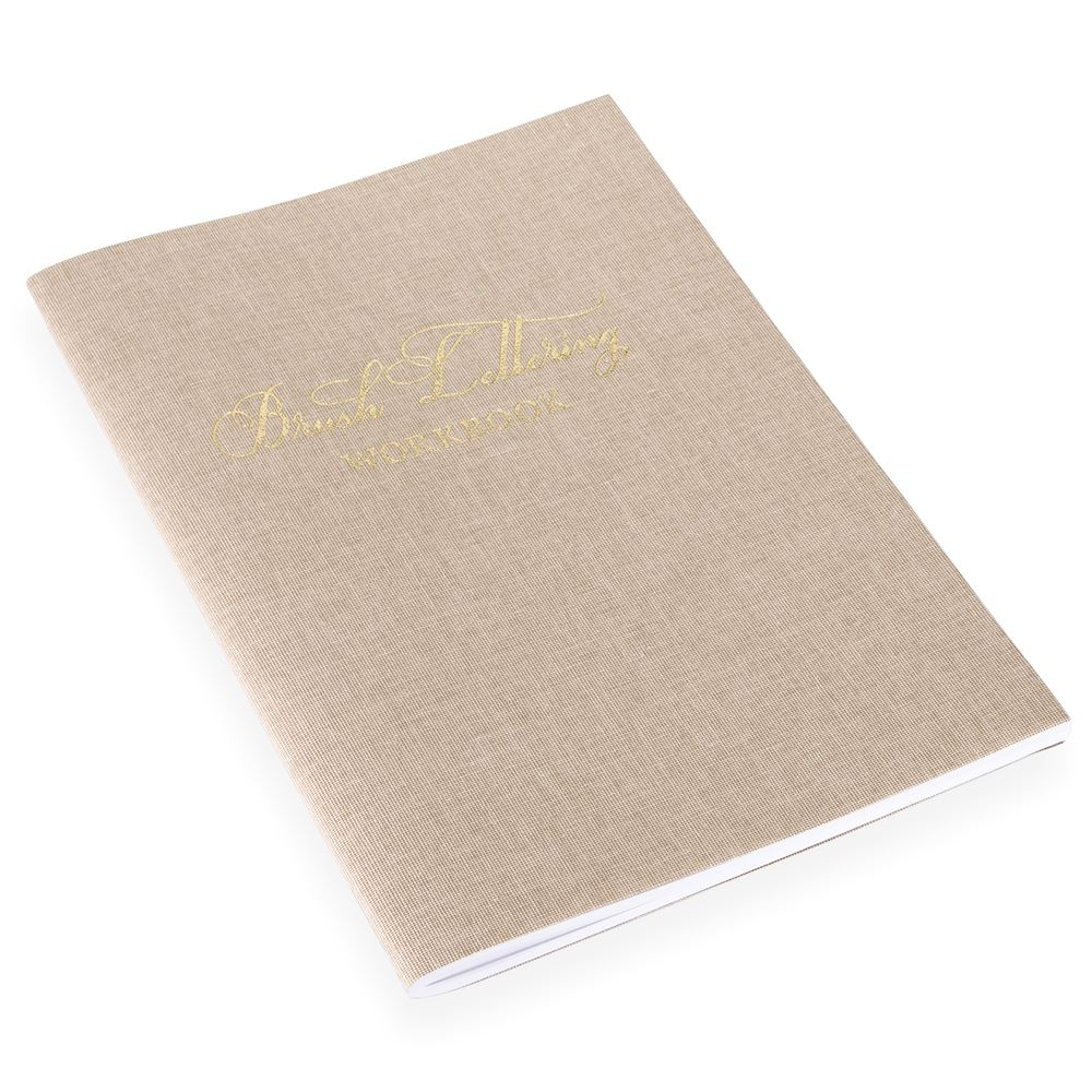 Brush lettering workbook, Sand Brown, Gold