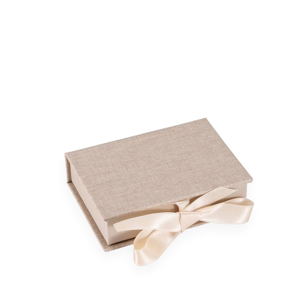 Boîte avec rubans en satin, Sand Brown