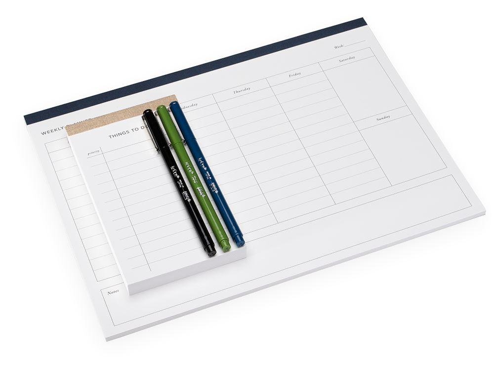 Set planner hebdomadaire & To-do list, Smoke Blue und Sand Brown