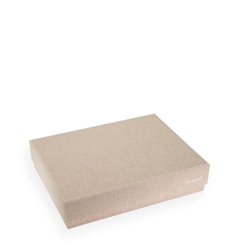 Vävklädd box med lock, Sand, Liten - Norrgavel
