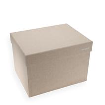 Vävklädd box med lock, Sand, Stor - Norrgavel