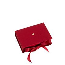 Boîte avec rubans en satin, Rose Red, Petit Coeur Doré