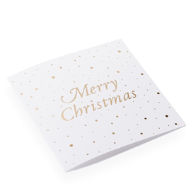Carte double, papier coton, Merry Christmas with Snowflakes, White and Gold