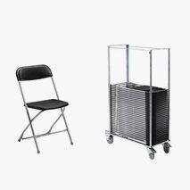 50 Smart stoler med svart sete & rygg, sølvgrått stativ + vogn