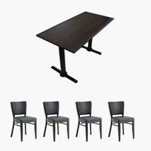 4 stk Madonna Select standard stoler + Bord Lia 120x70 cm, 4 farger bordplate