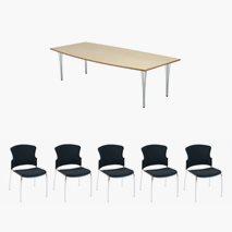 Konferansebord Meeting/Eiffel 260x120 + 8 Troya stoler