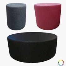 Rund sittepuff - 3 størrelser, valgfri farge på trekk