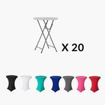 20 stk klaffbord dia 80cm høyde 110 cm + 20 stk stretchovertrekk i valgfri farge