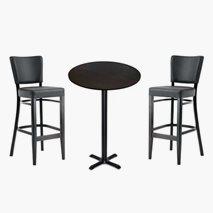 Pakke barbord høyde 108 cm, 3 stk størrelser + 2 stk barstoler, 3 farger bordplate