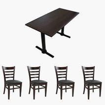 4 stk James stoler + bord 120x70 cm, 4 farger bordplate