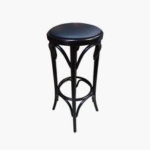 Barpall Palma sits i svart konstläder, stomme i wenge