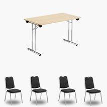 Nedfellbart bord Dinner Style 120x70 cm, valgfri farge bordplate/stativ + 4 stk. Style stoler svart trekk / sølvstativ