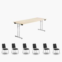 Nedfellbart bord Dinner Style 180x70 cm, valgfri farge bordplate/stativ + 6 stk. Style stoler svart trekk / sølvfarget stativ