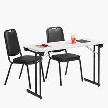 Bord Kongress Style 120x50 cm hvit bordplate svart stativ + 2 stk. Style stoler