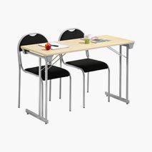 Bord Kongress Style 120x50 cm bordplate i bjørk sølvgrått stativ + 2 stk. RX002 stoler