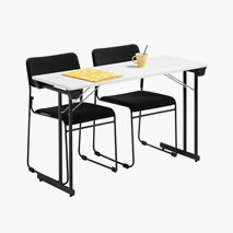 Bord Kongress Style 120x50 cm vit bordsskiva och svart stativ + 2 st Nice stolar