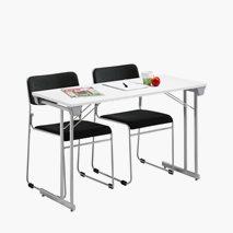 Bord Kongress Style 120x50 cm hvit bordplate sølvgrå stativ + 2 fine stoler