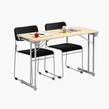 Bord Kongress Style 120x50 cm bordsskiva i björk silvergrått stativ+ 2 st Nice stolar